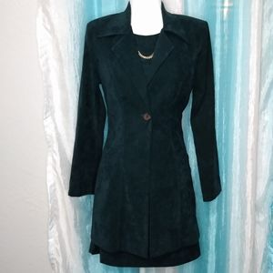 Suede 2 piece dress with coat